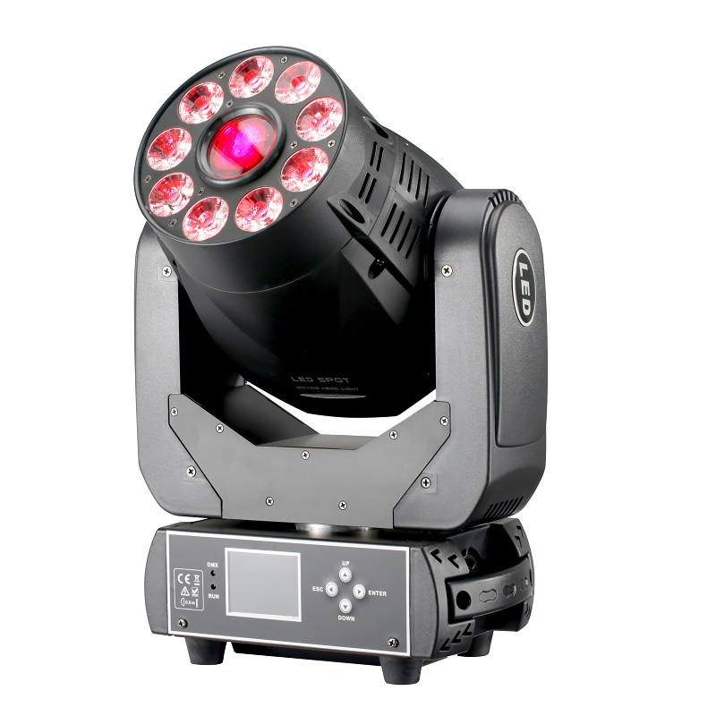 RGBWA UV 6IN1 1x75W and 9x12W LED Spot Wash Moving Head Light